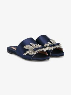 Rochas navy blue satin and silver embellished slides Shoes Flats Sandals, Sport Sandals, Shoe Boots, Women's Shoes, Embellished Shoes, Womens Slippers, Shoe Collection, Summer Shoes, Shabby Chic
