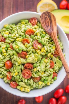 The secret ingredient in this Creamy Avocado Pasta Salad recipe will shock you! This avocado pasta salad is easy, creamy, vibrant, fresh and so satisfying!