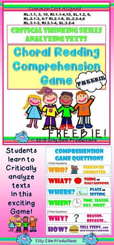 free! COMPREHENSION SKILLS - FLUENCY - EXPRESSION... So many Common Score Skills packed into this exciting game that gets READERS Analyzing Text and learning Questioning Skills! THEY LOVE THIS GAME!