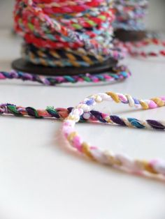 Turn that big pile of fabric scraps into handmade scrap fabric twine. A strong recycled fabric rope that can be used for all sorts of craft projects. Yarn Crafts, Fabric Crafts, Sewing Crafts, Diy Crafts, Crochet Projects, Sewing Projects, Fabric Yarn, Scrap Fabric, Hippie Shirt