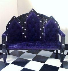 Monster High Gothic Doll Furniture!Goth Sofa in Purple Panne Velvet by insidemydollhouse on Etsy, $30.00