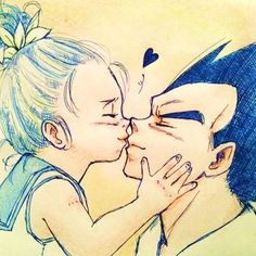 Vegeta and Bulla Dragon Ball Z Shirt, Dragon Ball Gt, Anime Toon, Manga Anime, Vegeta And Bulma, Dbz Characters, Anime Family, Z Arts, Kawaii Drawings