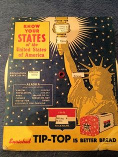 TIP TOP Bread Know Your States Mechanical Rotating Premium 1953 Good Cond | eBay