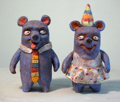 Blue Party Bears ceramic salt and pepper shakers by lloydfineart, $85.00