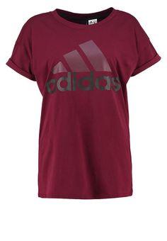 0c6f1936e812 ESSENTIALS LINEAR - T-shirt imprimé - maroon black - ZALANDO.FR