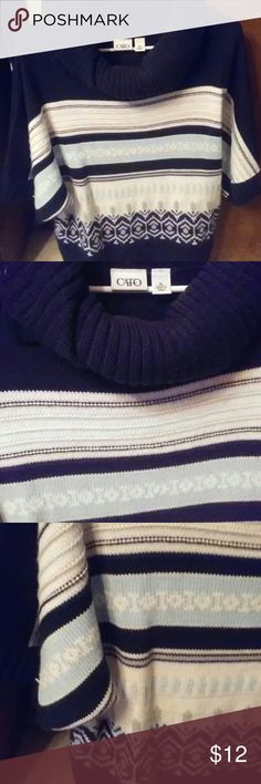 Very cozy three quarter sleeve sweater Pretty Cato navy white and baby blue Colts..nice for date night with jeans or football.. Cato Sweaters Cowl & Turtlenecks