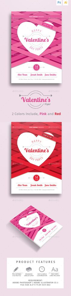 Valentine's Party Dinner Flyer Template PSD, Vector AI #design Download: http://graphicriver.net/item/valentines-party-dinner-flyer/14461885?ref=ksioks