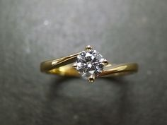 Solitaire Diamond Engagement Ring in 18K Yellow by honngaijewelry, $920.00. Simple and beautiful