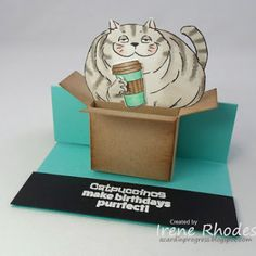 The box is made with a piece of kraft card stock 2 x 5 inches. Cat Birthday, Birthday Cards, Art Impressions, Cat Cards, Paper Dolls, I Card, Card Stock, Create, How To Make
