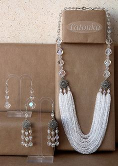 Size: necklace length from the edge: ~ 62 cm, the outer ~ 67 cm. Long earrings 6 cm with fastener. Short earrings