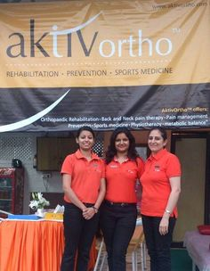 AktivOrtho's well-trained physiotherapists, (from L to R) Ms. Shibani James and Ms. Lipi Verma with metabolic balance® coach, Ms. Taranjeet Kaur, during a promotional campaign...