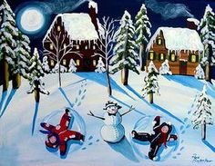 Wall Art - Painting - Snow Angels by Renie Britenbucher Painting Snow, Painting For Kids, Art For Kids, Kids Fun, Christmas Canvas, Christmas Paintings, Winter Art Projects, Snow Angels, Christmas Scenes