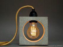 """nomad"" Betonlampe. Tischlampe. Tischleuchte. Lamp, Lampe, Beton, Concrete, Bulb, Fabric Cable, concrete lamp, industrial, Table, Tisch, Textilkabel, Tischlampe, Nachttischlampe"