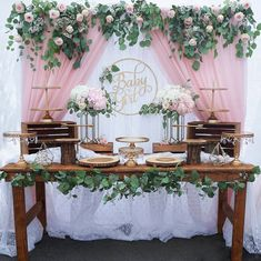 40 Best Baby Shower Ideas To Celebrate Mother Candidate 2019 Page 16 of 42 Idee Baby Shower, Cute Baby Shower Ideas, Baby Girl Shower Themes, Girl Baby Shower Decorations, Beautiful Baby Shower, Baby Shower Gender Reveal, Floral Baby Shower, Birthday Table Decorations, Rustic Baby Shower Decor