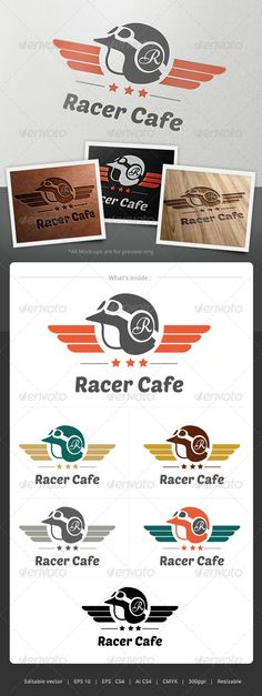 Racer Cafe Logo  #GraphicRiver         Suitable for Motorcycle club, team or shop. Or any business involve with racing.  	 The letter on helmet and the title are editable.  	 Files format : EPS10, EPS CS4, AI CS4  	 Color mode : CMYK  	 Resolution : 300PPI – Resizable  	 Free used font links included.     Created: 4June13 GraphicsFilesIncluded: VectorEPS #AIIllustrator Layered: No MinimumAdobeCSVersion: CS4 Resolution: Resizable Tags: antique #bike #biker #cafe #coffee #cool #guy #helmet…