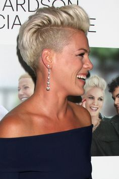 Shaved sides are a rocker chic way to play with short hair.