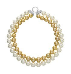 PHILLIPS : NY060113, , A Two-Strand South Sea and Golden South Sea Cultured Pearl and Diamond Necklace
