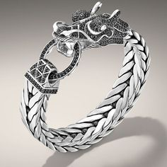 NAGA COLLECTION Dragon Head Bracelet on Extra-Large Rectangular Chain (15 x 7mm) with Black Sapphire. All in Sterling Silver. $4,700 Style No: BMS65210BLSXM
