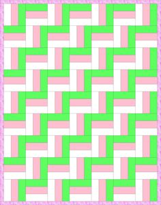 Zig-Zag Rail Fence Quilt Pattern-The classic Rail Fence pattern is made from square blocks made from several fabric strips. The number of strips in each block is up to you. Here's how the Rail Fence pattern looks when the blocks have three strips: Chevron Quilt Pattern, Jelly Roll Quilt Patterns, Quilt Block Patterns, Quilting Projects, Quilting Designs, Quilting Ideas, Fat Quarters, Rail Fence Quilt, Quilt Blocks Easy