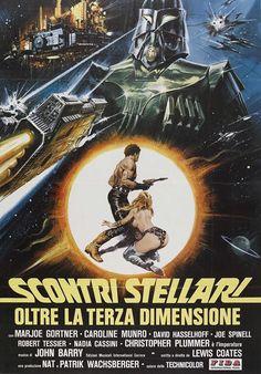 "Italian poster for ""Star Crash"" - the best Eurotrash Star Wars ripoff Horror Movie Posters, Old Film Posters, Movie Poster Art, Horror Movies, Vintage Posters, Old Sci Fi Movies, Foreign Movies, Action Movies, Christopher Plummer"
