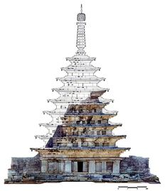 Reconstruction of the ruined Western Pagoda of Mireuk-sa Timber Architecture, Asian Architecture, Historical Architecture, Ancient Architecture, Building Sketch, Building Design, Korea Tourist Attractions, Korea Tourism, Concept Art