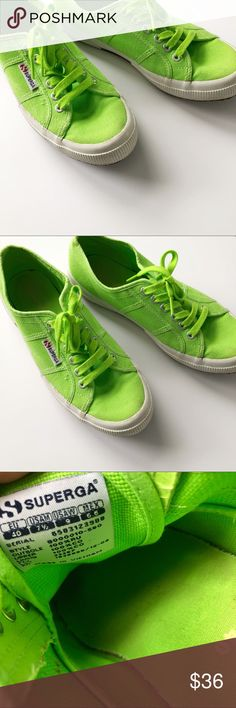 Superga lime green sneakers! Superga sneakers  Lime green  Size 9 (US) Great used condition, only worn a few times  *back tag broken on right shoe as shown  Thanks for looking! Superga Shoes