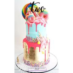 Image result for silver leaf drip cake Royal Cakes, Ice Cake, Colorful Cakes, Drip Cakes, Candyland, Celebration Cakes, Birthdays, Birthday Cake, Desserts