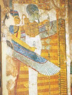 Voici donc un défunt acceuilli dans le royaume d'Osiris par Maât ptérophore... Fresque sur le sarcophage de Butehamon... 21e dynastie... Turin, Musée Egizio.