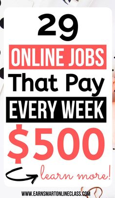 If you are in need of quick cash these 28 work at home jobs that pay weekly will come in handy for you. These online jobs allow you to work in your own free time and still earn good money from home. Number 1 helped me to make my first dollar online. Home Based Work, Work From Home Careers, Work From Home Companies, Legitimate Work From Home, Work From Home Opportunities, Work From Home Tips, Online Surveys For Money, Earn Money From Home, Earn Money Online