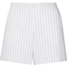 Sandro Plage pinstriped twill shorts (€100) ❤ liked on Polyvore featuring shorts, bottoms, pants, white, pinstripe shorts, twill shorts, sandro and white shorts