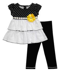 Black Polka Dot Dress & Leggings - Infant & Toddler