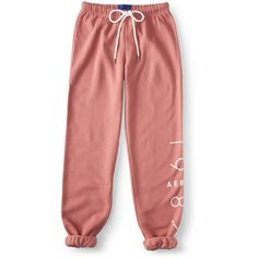 Aeropostale NYC 1987 Cinch Sweatpants (63 BRL) ❤ liked on Polyvore featuring activewear, activewear pants, pants, bottoms, berry blush, red sweatpants, sweat pants, red sweat pants, aéropostale and relaxed fit sweatpants