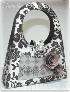 """Purse created with Cricut Artiste and Close To My Heart """"For Always"""" paper and Fabulous You Stamp.  By Tamytha Jenkins of www.paperheartist.com for New Product Blog Hop."""
