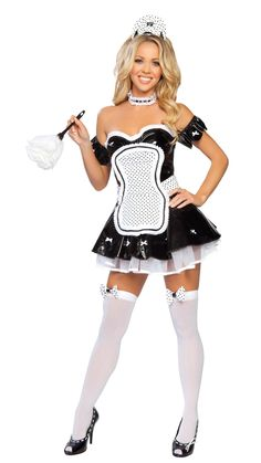 Sexy French Maid Halloween Costume, 4 pcs, Vinyl  #thesexiestlingerie, #costumes, #halloween, #frenchmaid
