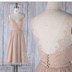Bridesmaid Dress Pale Khaki Tulle Short Wedding Dress,Illusion Lace V Back Party Dress,Ruched Boat Neck Elegant Dress Knee Length(HS499) by RenzRags on Etsy https://www.etsy.com/listing/521580330/bridesmaid-dress-pale-khaki-tulle-short