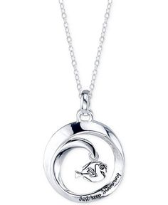 """""""Just Keep Swimming"""" with this adorable Finding Dory round pendant necklace designed by Disney in sterling silver. Item comes presented on a lovely card. Approximate length: 18"""". Approximate drop: 1""""."""