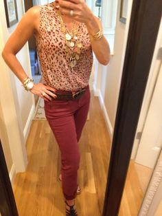 OOTD...CAbi Fall '14  Beguile Button Up, Simple Cami, Bordeaux Skinny Jean, Colorways Tile Coin Necklace and HRH Belt. www.nancydowning-schloss.cabionline.com #cabiclothing