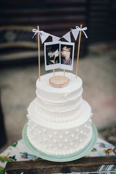 Vintage-Inspired Polaroid Photo Cake Topper | Hibben Photography https://www.theknot.com/marketplace/hibben-photography-oklahoma-city-ok-627855 | Hidden Hills Cabins