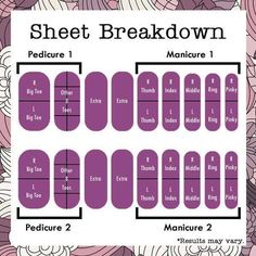 Jamberry nail wraps sheet breakdown Get 2 pedi's, 2 mani's and some accent nails out of 1 sheet!  Around $3 per application!  www.Jamswithjane.jamberrynails.com