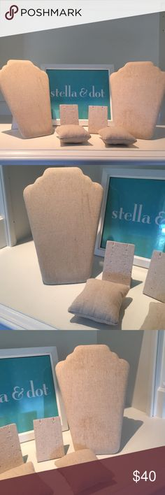Stella & Dot display Stella & Dot display items. Two foldable necks. Two bracelet pillow and two earring stands. Perfect for trunk shows or to display your jewelry in an effort to make it easier to find your favorite pieces. Stella & Dot Accessories