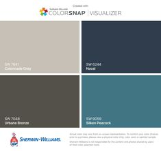 I found these colors with ColorSnap® Visualizer for iPhone by Sherwin-Williams: Colonnade Gray (SW 7641), Urbane Bronze (SW 7048), Naval (SW 6244), Silken Peacock (SW 9059).