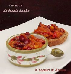zacusca de fasole boabe Lecturi si Arome Diy And Crafts, French Toast, Vegan, Breakfast, Food, Canning, Morning Coffee, Essen, Meals