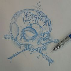 Quickie #ozer #tatouage #tattoo #skull #graffiti #loveletters