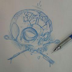 Quickie  #ozer #tatouage #tattoo #skull #graffiti #loveletters