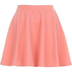 River Island Coral skater skirt ($20) ❤ liked on Polyvore featuring skirts, bottoms, saias, faldas, coral, women, sale, flared skirts, pastel skater skirt and coral skirt