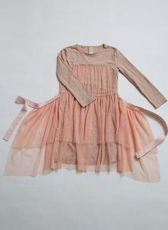 Tia Cibani Kids Classic Tulle Apron Dress in Guava