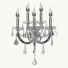 Maria Theresa Imperial 5-light Chrome Finish and Clear Crystal Candle Wall Sconce (2OS115C15-CL)