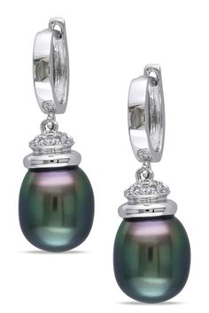 14K White Gold 9.5-10mm Black Tahitian Pearl & Diamond Drop Earrings