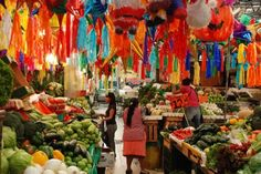 "Love this ""mercado san miguel"" I take a lot of photographs of vegetable markets but don't get the lovely hanging stuff in this image. S"