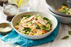 Smoked chicken and basil microwave risotto